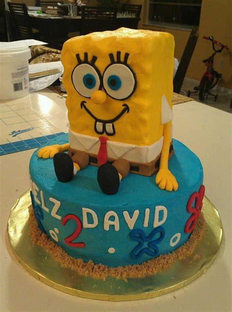 spongebob cake all buttercream with fondant decorations