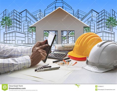 Hand Of Architect Working On Computer Tablet With