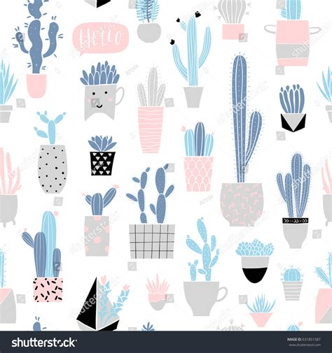 pastel cactus pattern cute summer theme cactus seamless pattern stock vector