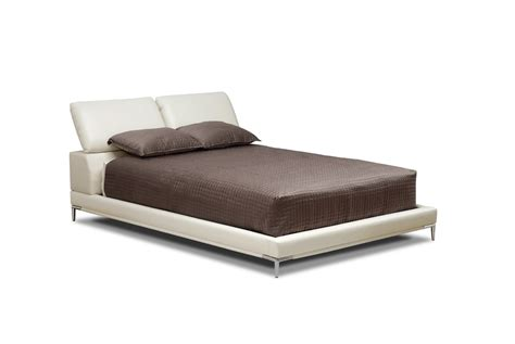 modern ivory upholstered leather platform bed adjustable board new ebay