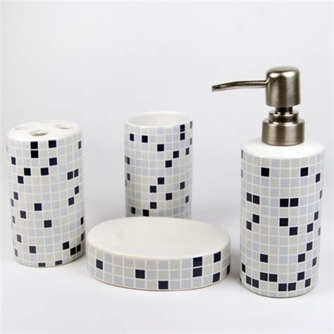 The Bathroom Set by Morden Mosaic Ceramic Bath Accessory Set Modern