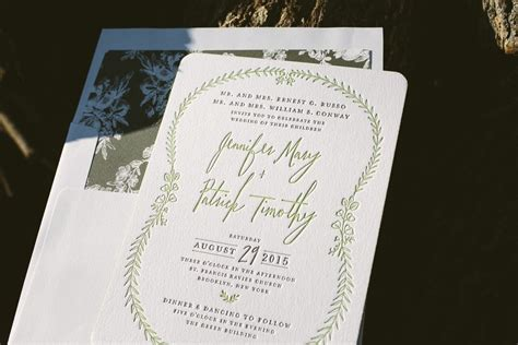 letterpress wedding announcement letterpress green wedding invitations figura