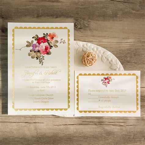 foil pressed wedding invites bohemian floral foil pressed wedding invitations ewfi003