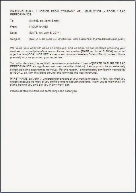 Performance Appraisal Warning Letter Warning Letter For Performance Improvement