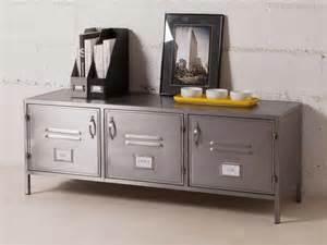meuble tv bas 3 portes en m 233 tal gris l128cm h47cm