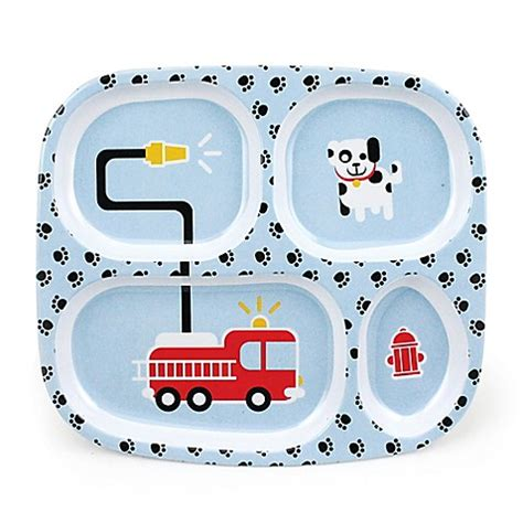 plates with separate sections bumkins 174 fire engine melamine divided plate in blue bed