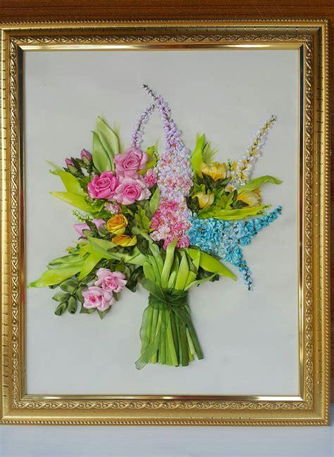 Jual Hiasan Dari Pita by Jual Hiasan Dinding Lukisan Sulam Pita Buket Bunga 1