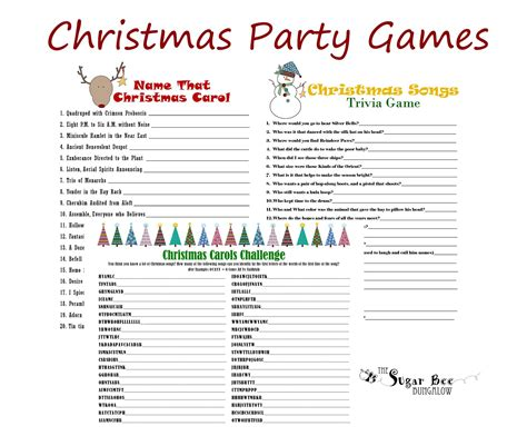 printable games for christmas party the sugar bee bungalow december 2012