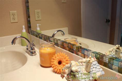 tile framed bathroom mirror mosaic tile framed mirror hometalk