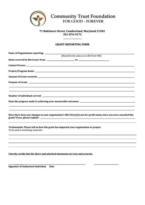 Grant Report Form Printable Pdf Download Grant Report Template