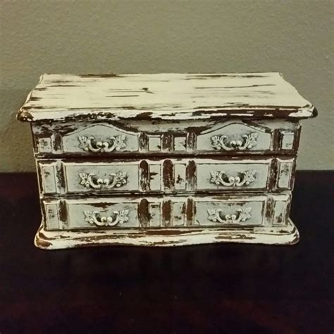 fancy shabby chic jewelry box chippy painted jewelry box antique white painted chalk paint