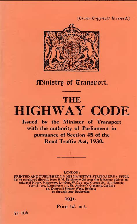 Printable Version Of Highway Code | page the highway code 1931 djvu 1 wikisource the free