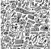 Raphip Hop Graffiti  Seamless Background With Icons In Sketch Style