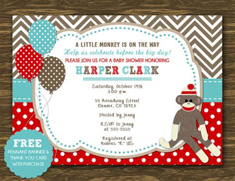 printable sock monkey baby shower invitations theruntime