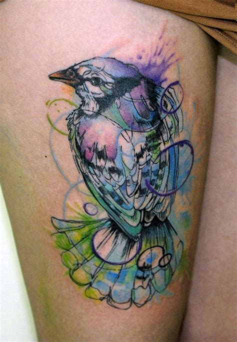 colored tattoos nature water color of a bird illest ink