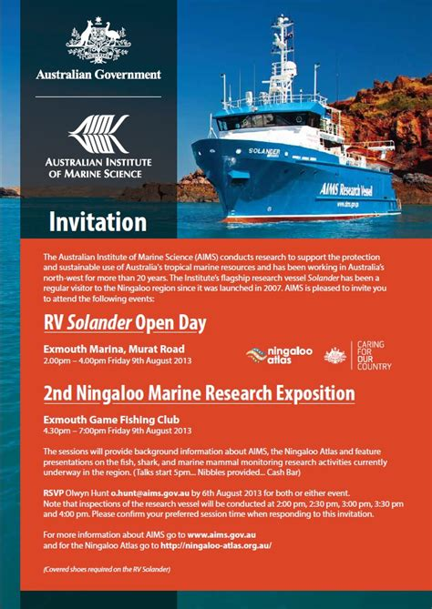 the open boat exposition rv solander open day and exposition ningaloo atlas