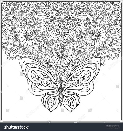 Butterfly Floral Mandala Coloring Book Adult Stock Vector