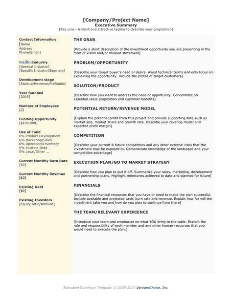 one page executive summary template executive summary template in word and pdf formats