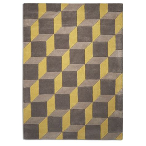 Grey Geometric Rug Uk by Geometric Yellow Grey 07 Rug