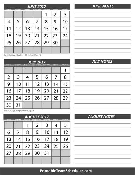 Calendar 2017 June July August June July August Calendar 2017