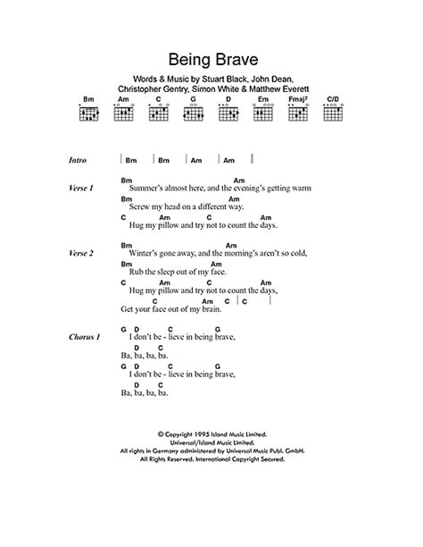 brave new world theme lyrics being brave sheet music by menswear lyrics chords 101099