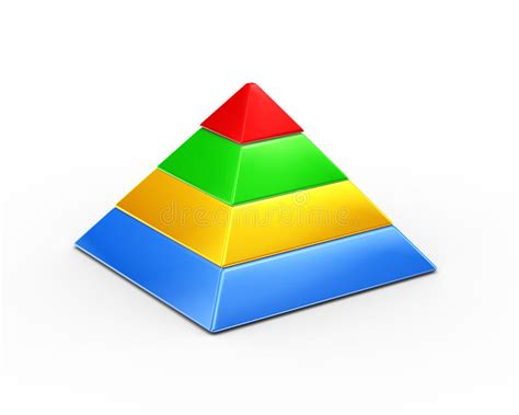 color pyramid 3d four layer color segment pyramid stock illustration