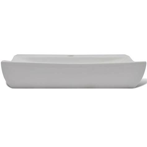 lavello bianco lavello bianco ceramica rettangolare con foro rubinetto 62