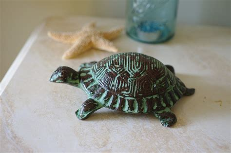 turtle decorations for home home decor cast iron turtle figurine ocean green