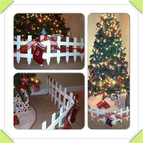 christmas tree gates for babies 1 year proofed childproof your tree without putting it inside a tacky playpen