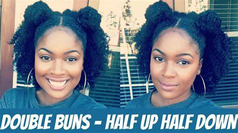 natural hairstyles half up half down bun double bun half up half down natural hair style youtube