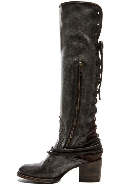 leather boots lyst freebird by steven coal leather boots in black
