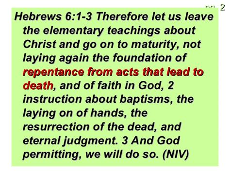 Hebrews 6 1 3 Leave These Elementary Teachings | foundation stone 7 laying on hands to bless