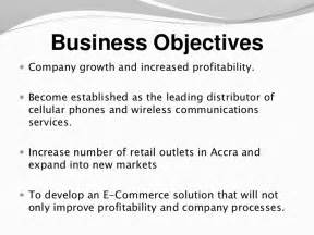 Business Objective Statement Examples An E Business Plan Sample Presentation
