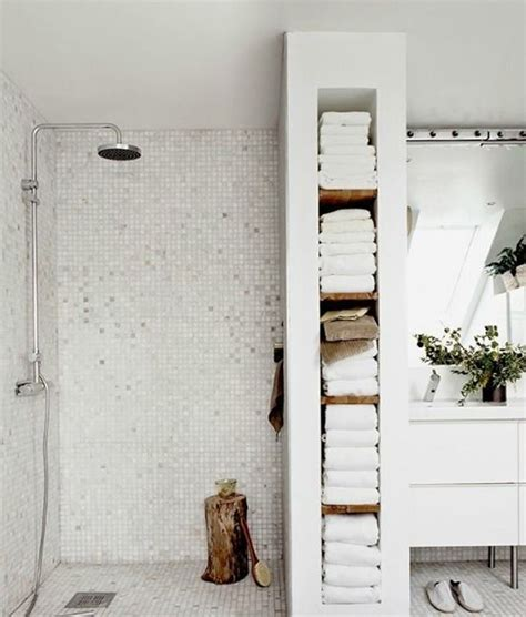 built in bathroom wall storage