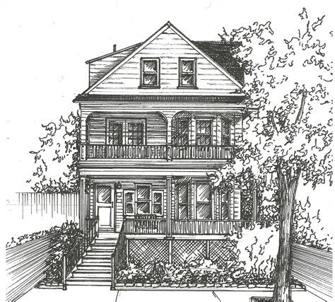 commission an original ink house drawing architectural