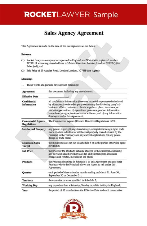 agency agreement template uk sales agency agreement sales agency contract template