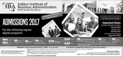 Iba Mba Fee Structure 2017 by Iba Sukkur Admission 2018 Paperpks