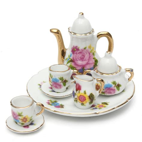 dolls house tea set 8pcs porcelain vintage tea sets teapot coffee retro floral cups doll house decor toy