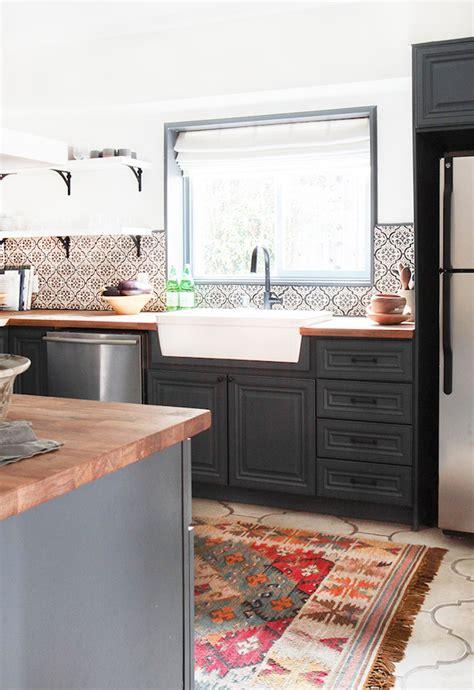 lovely Modern Kitchen Open Shelving #1: California-Country_Kitchen_Emily-Henderson_blue-wood-concrete-tile-open-shelving-causal_5.jpg