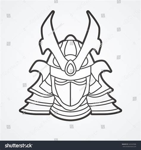 samurai helmet template samurai mask outline graphic vector stock vector 522543586