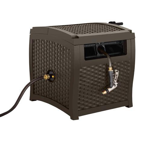 suncast outdoor cabinet assembly instructions suncast 225 ft smart trak wicker hideaway hose reel with