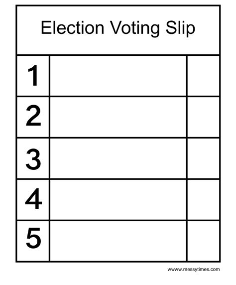 Voting Slips Template mr miss election voting slip times
