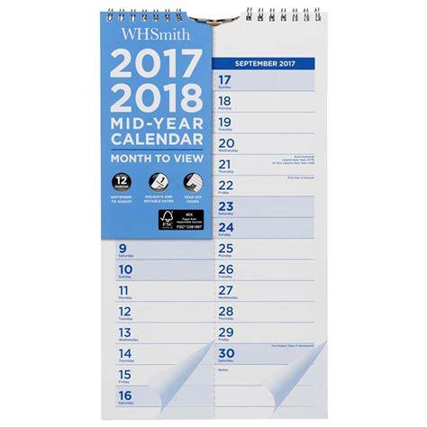 Calendar 2018 Whsmith Whsmith 2017 18 Mid Year Slim Wiro Calendar Month To View