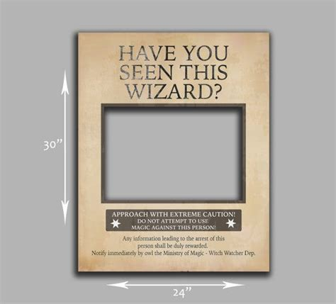 ministry of magic identity card template wanted poster prop instant photobooth