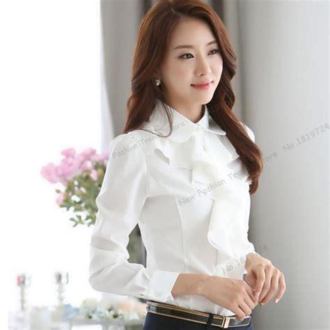 Azeanita Plain Longsleeve Blouse 2017 choies blouse s ruffle plain sleeve white high neck shirt in