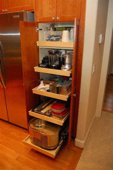 Kitchen Pantry Cabinet Ideas by Big Vertical Shaped Slim Pantry Cabinet From Light Brown