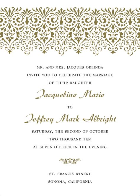 Wording Wedding Invitations by Formal Wedding Invitation Wording Fotolip Rich Image
