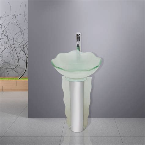 modern frosted glass bathroom vanities pedestal vessel sink combo w faucet set what s it worth