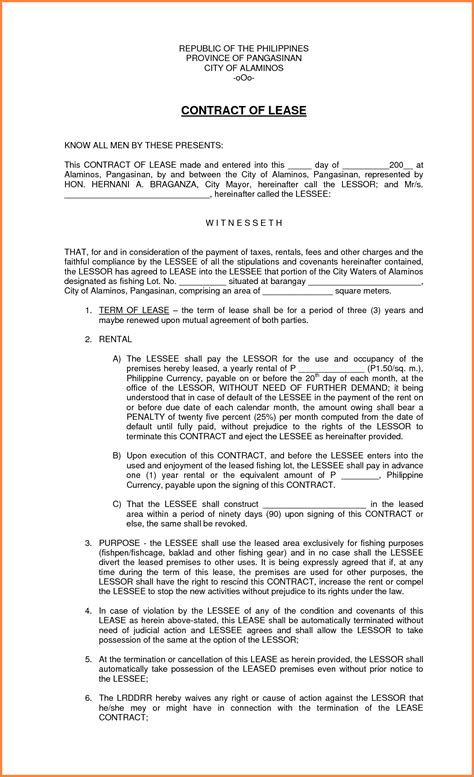 Letter Of Agreement Sle Philippines Lease Contract Format Loan Letter Agreement