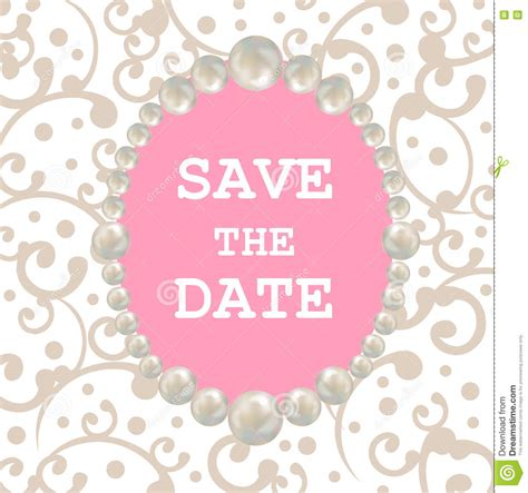 save the date invitation template pearl frame retro design card template for greeting card